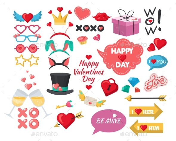 Valentines Day Photo Booth Props Party Decoration