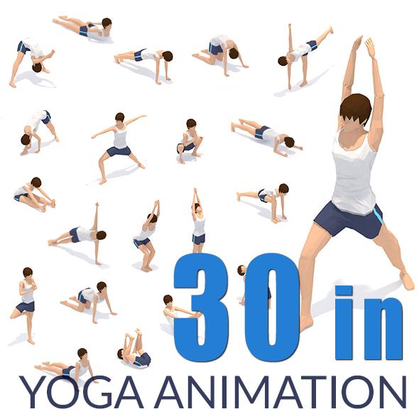 30 Yoga Pose Animations Bundle Woman