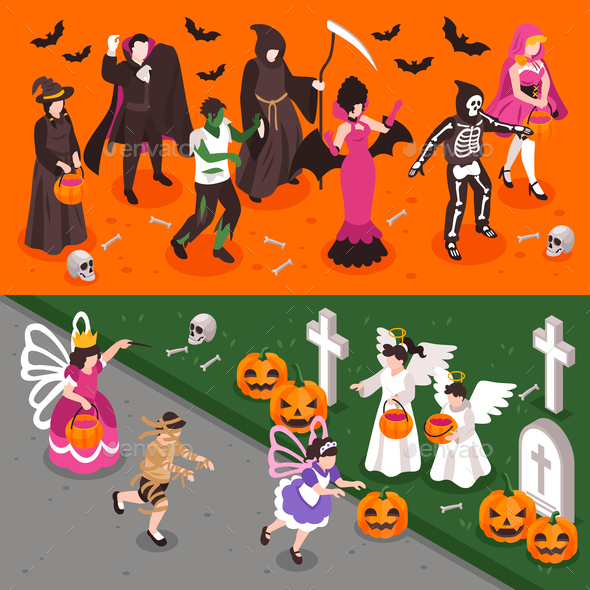 Halloween Party Isometric Banners