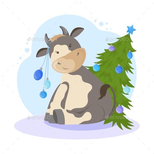 New Year Cartoon Bull Illustration