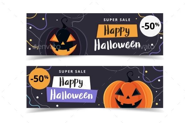Halloween Sale Banner Template with Pumpkins