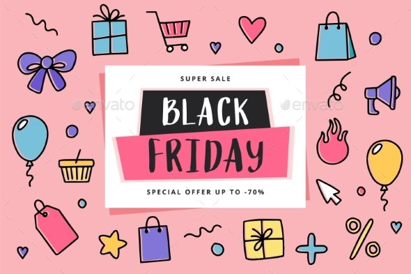 Black Friday Banner Template with Doodle Elements