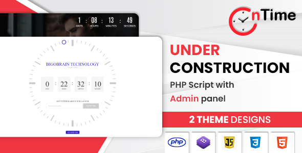 OnTime - Coming Soon / Under Construction / Time Counter PHP Script with Admin panel
