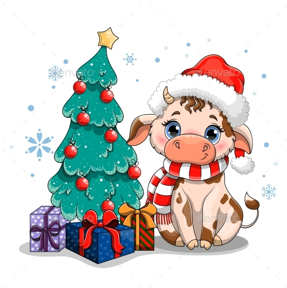 Cow with Christmas Tree