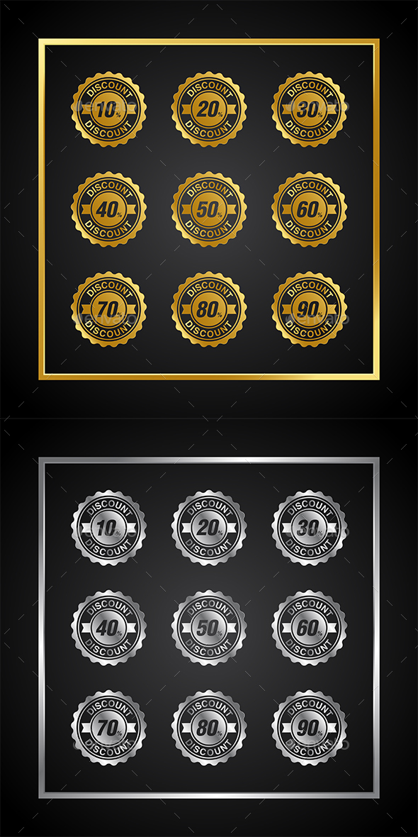 Gold and Silver Discount Sale Badge