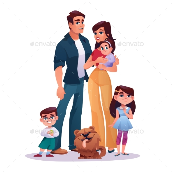 Family Mother, Father, Two Daughters and Son, Dog
