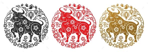 CNY 2021 Metal Ox Symbol, Papercut Flower Circe