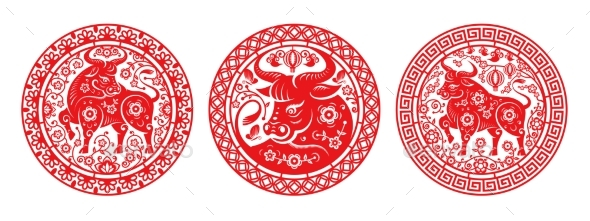 CNY 2021 Metal Ox Signs in Papercut Flower Circles