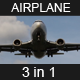 Airplane Passing By And Landing (3 in 1) With Audio - VideoHive Item for Sale
