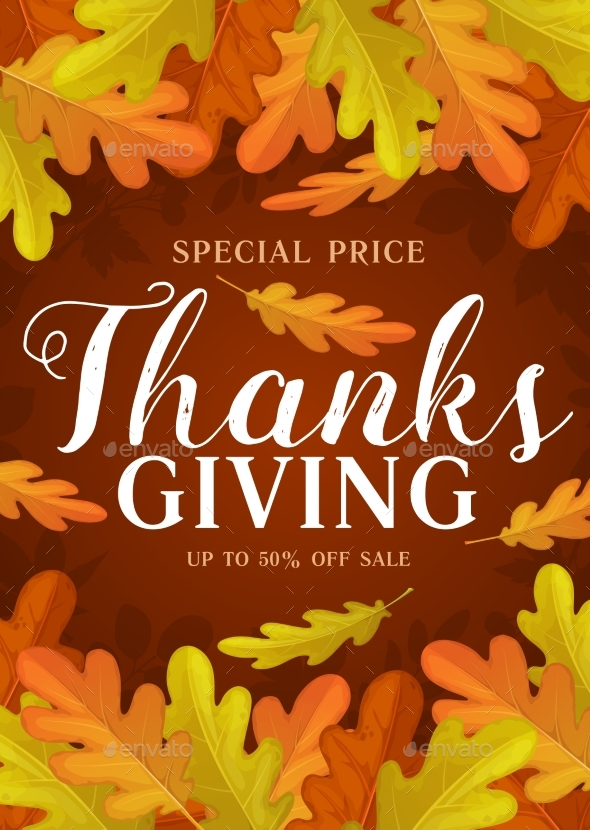 Thanks Giving Day Vector Promo Poster, Autumn Sale