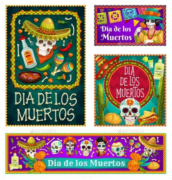 Mexican Dia De Los Muertos Sugar Skulls, Catrina