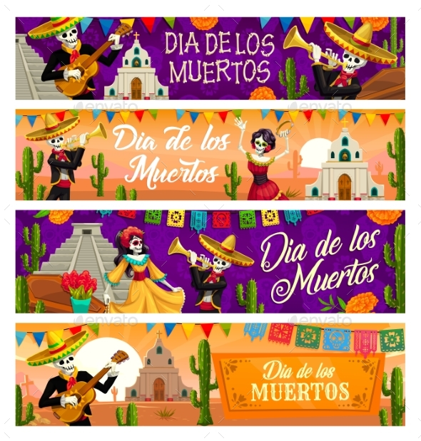 Dia De Los Muertos Skeletons, Day of Dead Banners