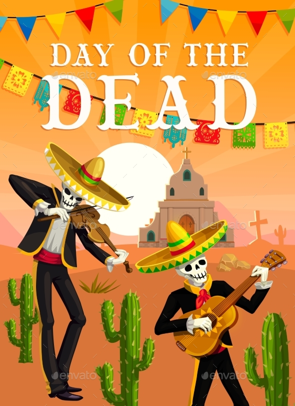 Day of the Dead Mexican Musician Skeletons