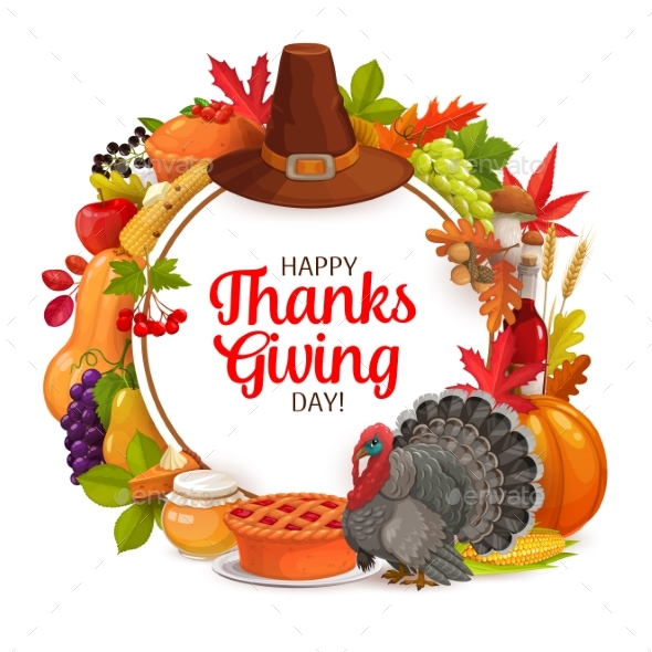 Happy Thanks Giving Day Vector Cartoon Round Frame