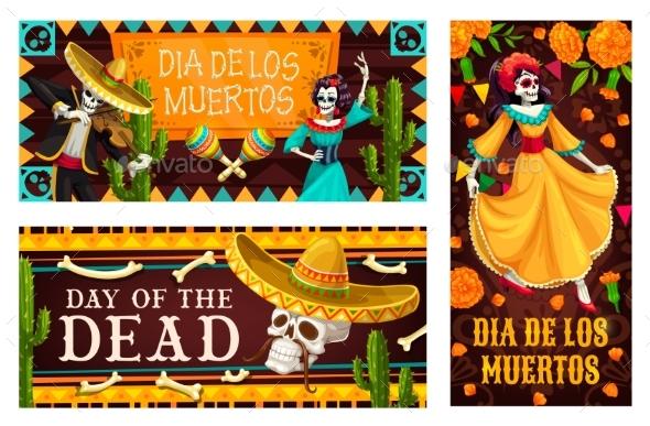 Day of the Dead or Dia De Los Muertos Skeletons