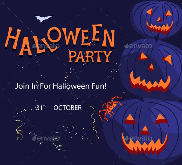 Halloween party square invitation
