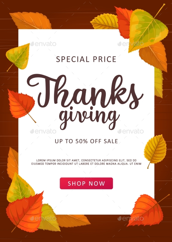 Thanks Giving Vector Sale Poster Special Price Off
