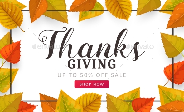 Thanks Giving Day Vector Sale Poster with Leaves