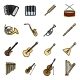 Vector Set of Color Musical Instruments Icons - GraphicRiver Item for Sale