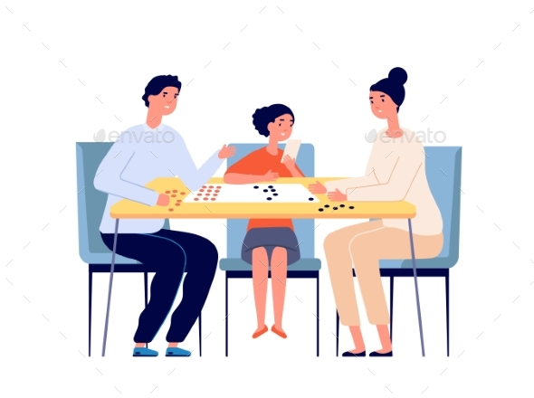 Family Play Board Game. People Playing, Woman