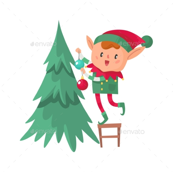 Elf Decorates Christmas Tree