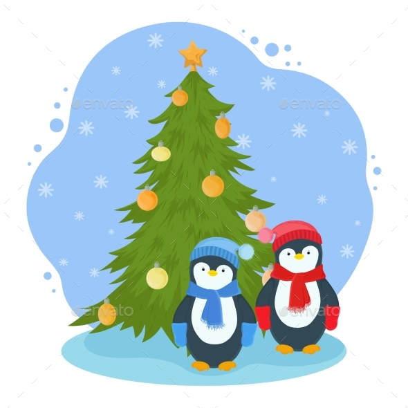 New Year Illustration with Penguins