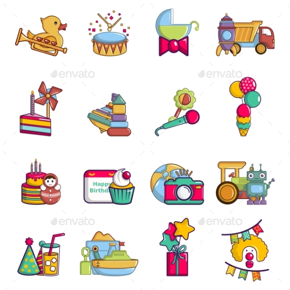 Children Day Icons Set Cartoon Style
