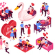 Dating Valentine Isometric Set - GraphicRiver Item for Sale