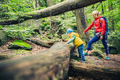 Young boy hiking with mother - PhotoDune Item for Sale