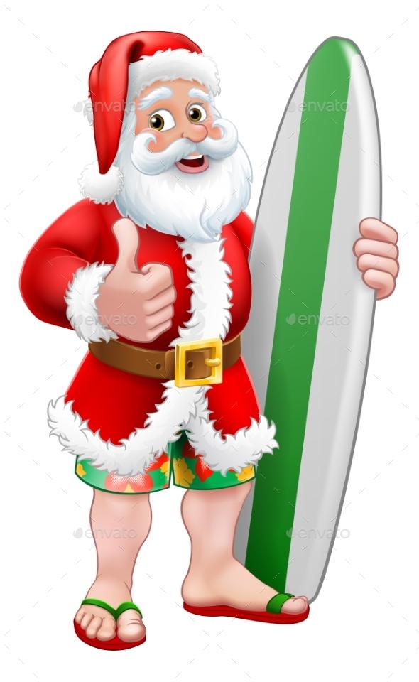 Surfing Santa With Surfboard Christmas Cartoon