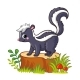Cute Skunk Standing on a Stump with Mushrooms - GraphicRiver Item for Sale