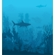 Blue Underwater Landscape with Sharks and Coral - GraphicRiver Item for Sale