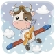 Cartoon Bull Is Flying on a Plane - GraphicRiver Item for Sale