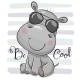 Cartoon Hippo with Sun Glasses - GraphicRiver Item for Sale