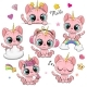 Cartoon Pink Kittens Unicorns Isolated on a White - GraphicRiver Item for Sale