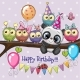 Owls and Panda on a Branch with Balloon and - GraphicRiver Item for Sale