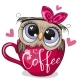 Owl with a Bow Sitting in a Cup of Coffee - GraphicRiver Item for Sale