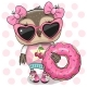 Owl Girl with Donut on the Dots Background - GraphicRiver Item for Sale