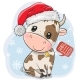 Cartoon Bull in Santa Hat on a Blue Background - GraphicRiver Item for Sale