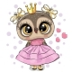 Cartoon Owl Princess in a Pink Dress with Hearts - GraphicRiver Item for Sale