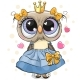 Owl Princess in a Blue Dress with Hearts Isolated - GraphicRiver Item for Sale