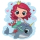 Cartoon Mermaid and Whale on a Blue Background - GraphicRiver Item for Sale