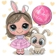 Cartoon Girl with Rabbit in a Pink Dress - GraphicRiver Item for Sale
