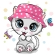 Cute Cartoon White Kitten in a Panama Hat - GraphicRiver Item for Sale