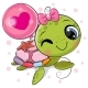 Cartoon Water Turtle Girl with a Balloon - GraphicRiver Item for Sale