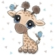 Cartoon Giraffe with Two Birds - GraphicRiver Item for Sale