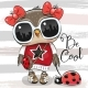Cartoon Owl with Sunglasses and Ladybug - GraphicRiver Item for Sale
