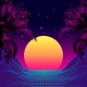 Retro 80s Style Tropical Sunset with Palm Tree. - GraphicRiver Item for Sale
