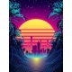 Retro Futuristic Background 1980s Style with Palms - GraphicRiver Item for Sale