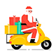 Santa Claus driving scooter - GraphicRiver Item for Sale